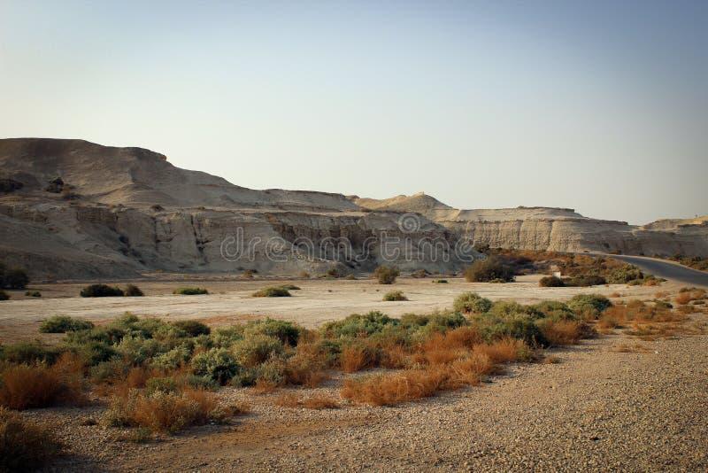 Vista escénica del desierto, lugares byblical cerca del río Jordán, Jordania imagenes de archivo