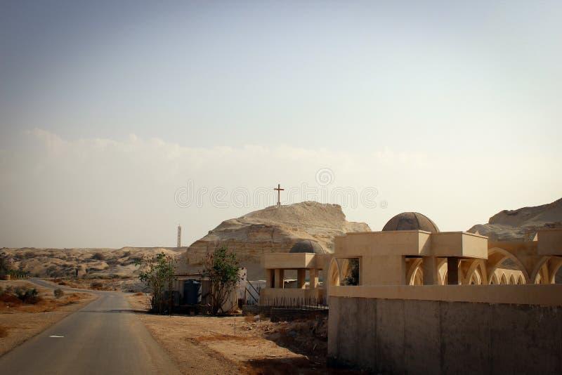 Vista escénica del desierto, lugares byblical cerca del río Jordán, Jordania fotos de archivo libres de regalías
