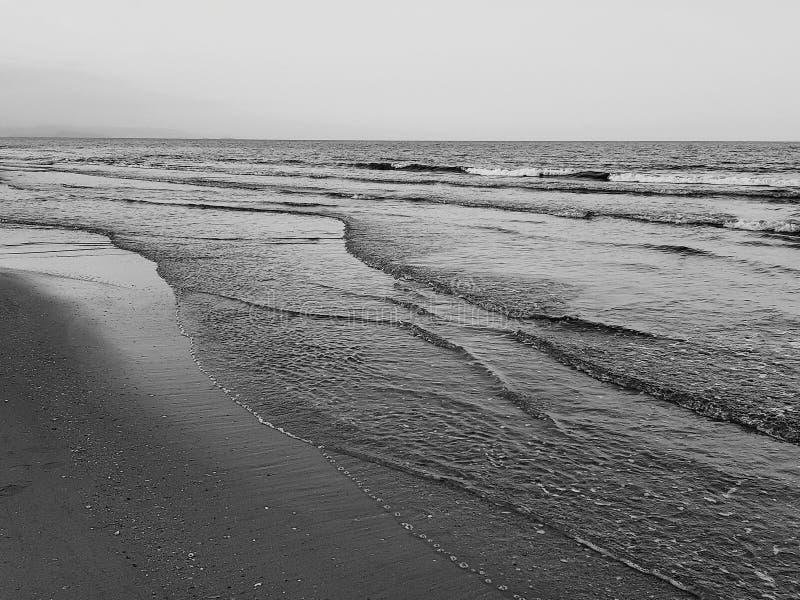 Vista escénica del tiro blanco y negro de la playa fotos de archivo libres de regalías