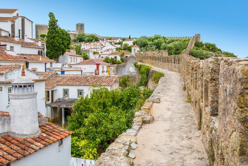 Vista escénica del verano en Obidos, distrito de Leiria, Portugal imagen de archivo