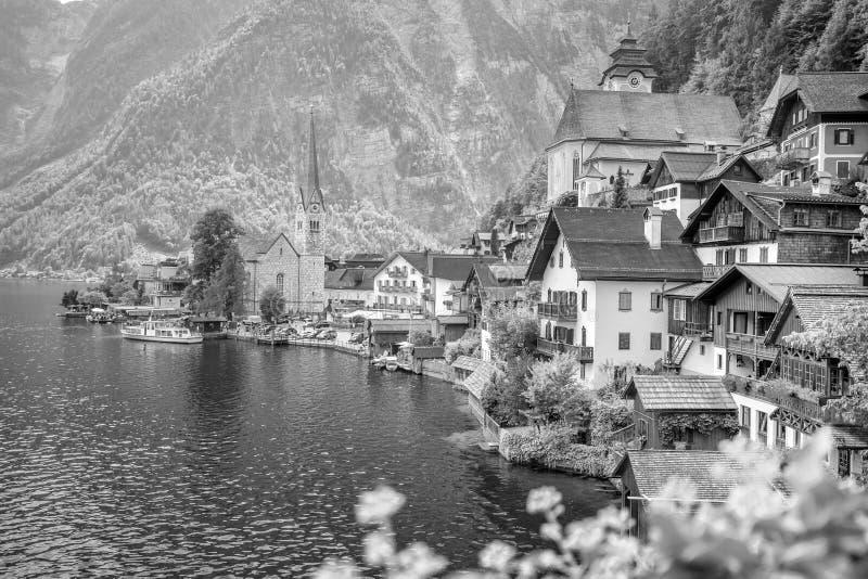 Vista esc?nica del pueblo famoso de Hallstatt en Austria imagen de archivo libre de regalías