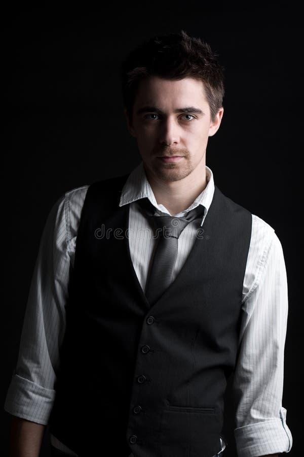 Vista esperta masculino na camisa, no laço e no Waistcoat foto de stock
