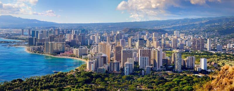 Vista espetacular da cidade de Honolulu, Oahu imagem de stock