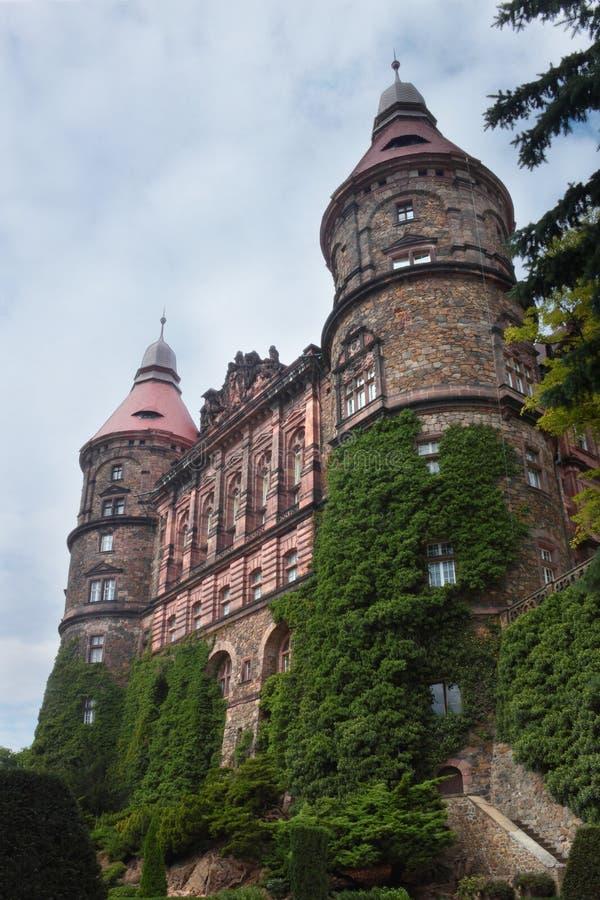 Vista esteriore al castello Ksiaz, Polonia immagine stock