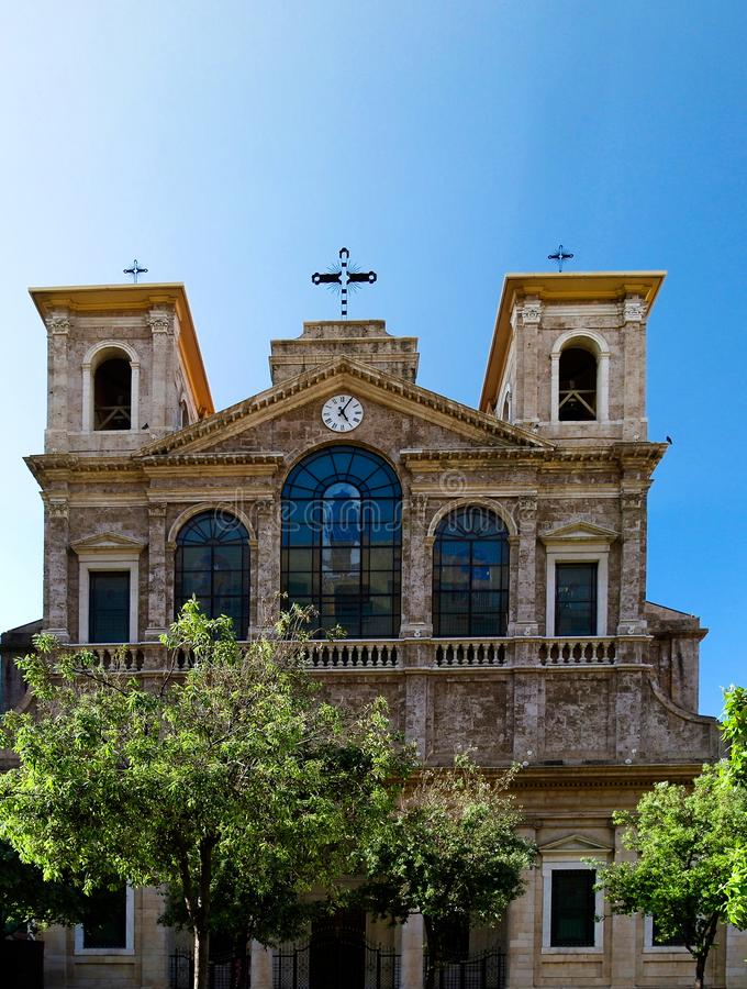 Vista esteriore al san Georges Maronite Cathedral, Beirut, Libano immagini stock