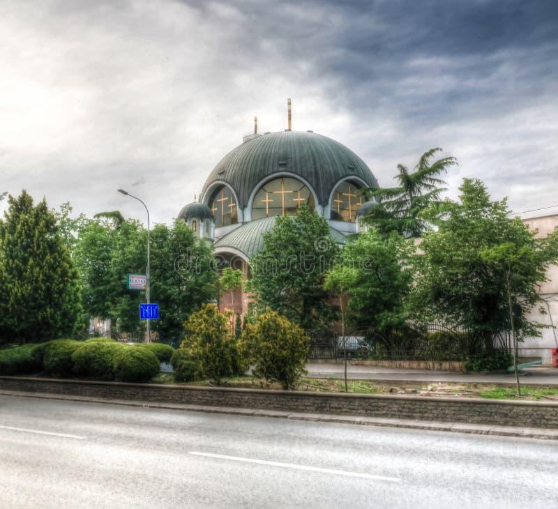 Vista esteriore alla cattedrale della st Kliment Ogridsky, Skopje, Macedonia del nord immagini stock libere da diritti