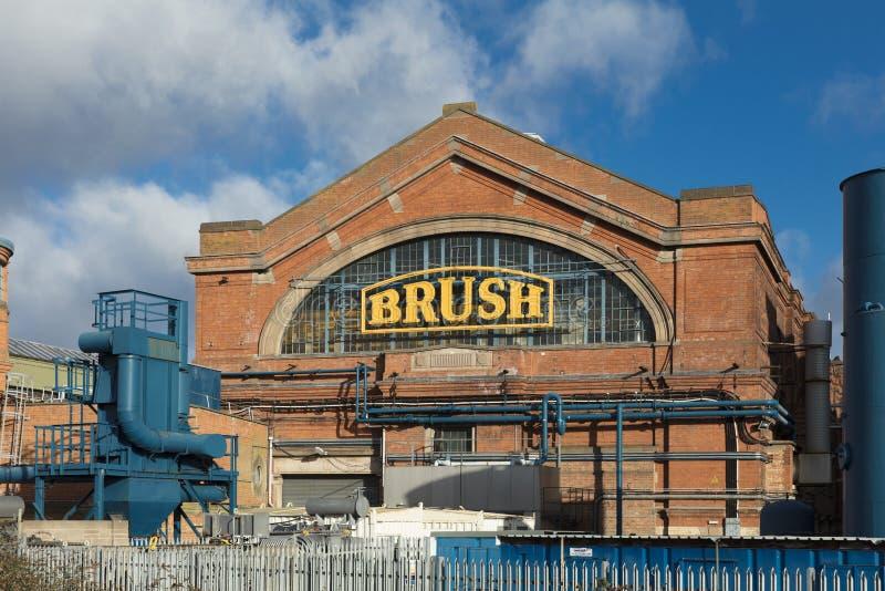 Vista esteriore della fabbrica di macchine elettrica della spazzola, Loughbor fotografia stock