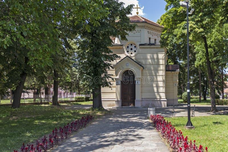 Vista esterna della torre Cele Kula del cranio - costruito dai 3000 crani dei guerrieri serbi morti a poppa immagine stock libera da diritti