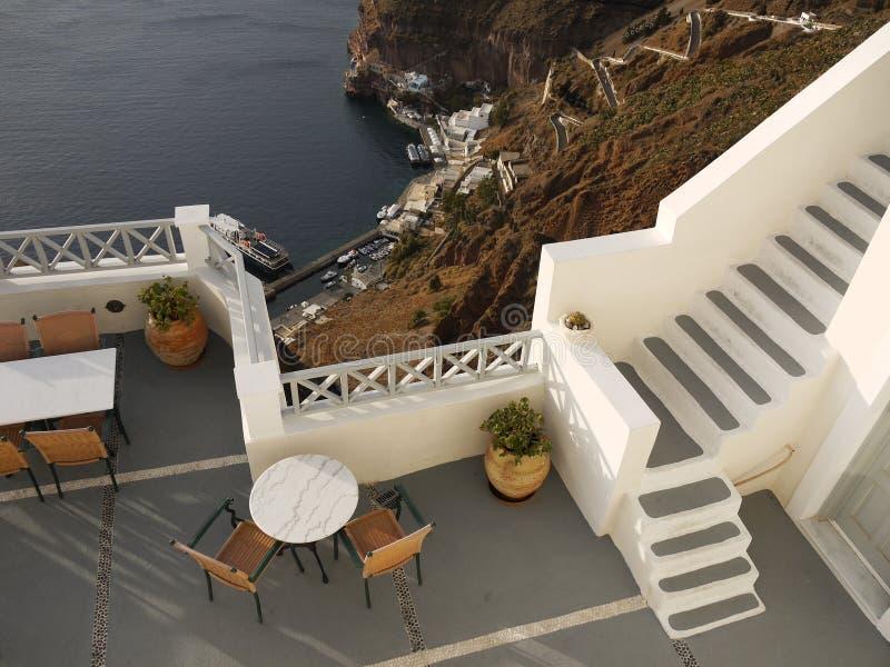 Vista excitante para baixo, Santorini imagens de stock royalty free