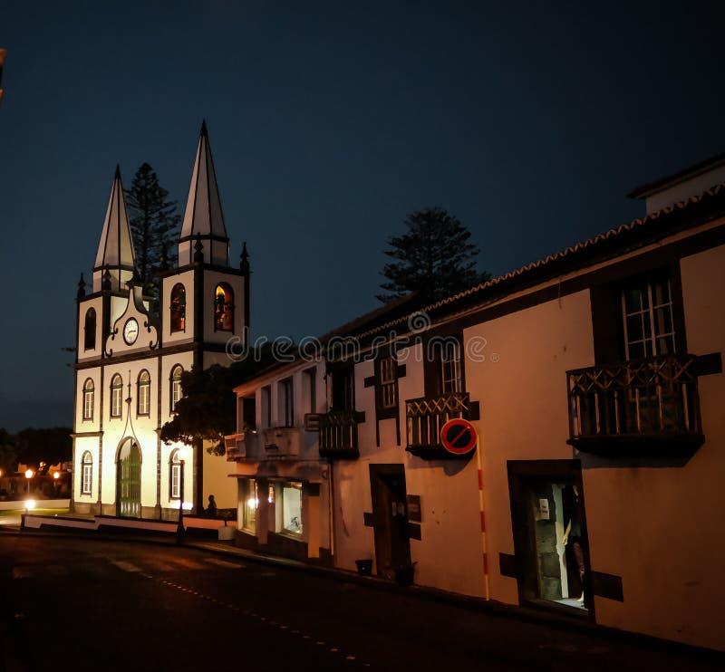 Vista exterior à igreja de Mary Magdalene santamente, Madalena, Pico, Portugal fotos de stock