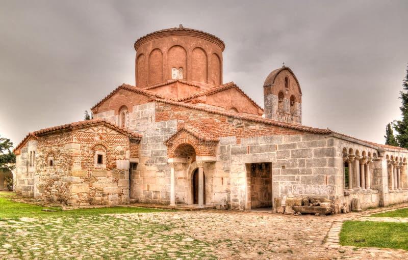 Vista exterior à igreja de St Mary em Apollonia, Fier, Albânia foto de stock