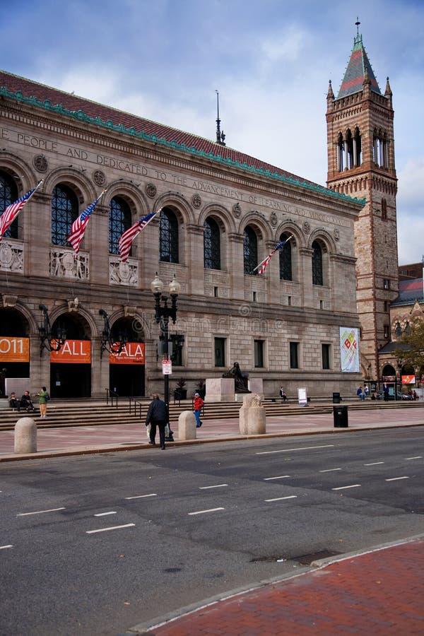Vista exterior da biblioteca de Boston Public histórica, fotografia de stock