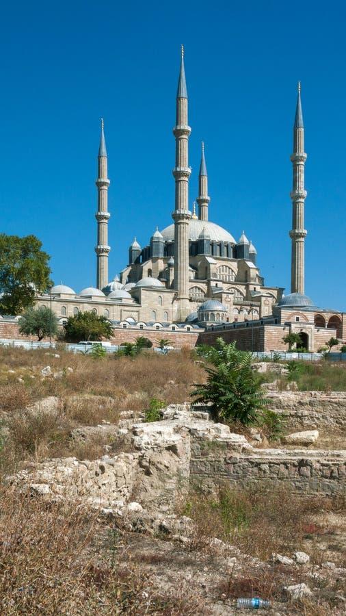 Vista exterior da mesquita de Selimiye construída entre 1569 e 1575 na cidade de Edirne, Thrace do leste, Turquia imagens de stock