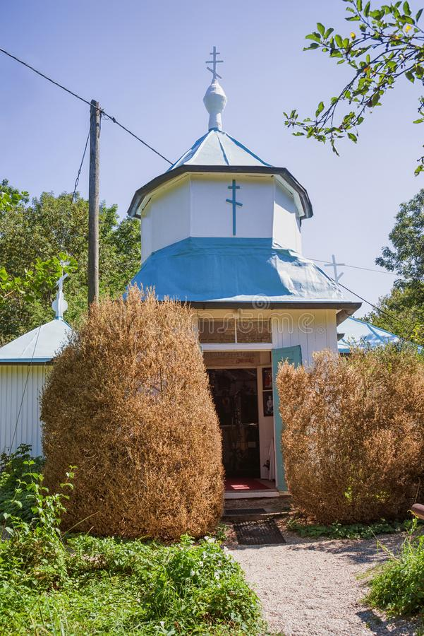 Vista exterior de la iglesia ortodoxa rusa imagenes de archivo
