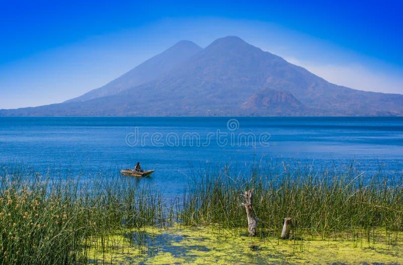 Vista exterior de plantas acuatic do totora na beira do lago, com o pescador não identificado no botes em Atitlan fotos de stock