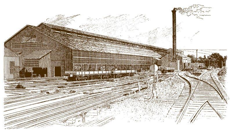 Vista exterior de un edificio histórico de la fábrica con los carriles, los carros y una chimenea que fuma delante de ella stock de ilustración