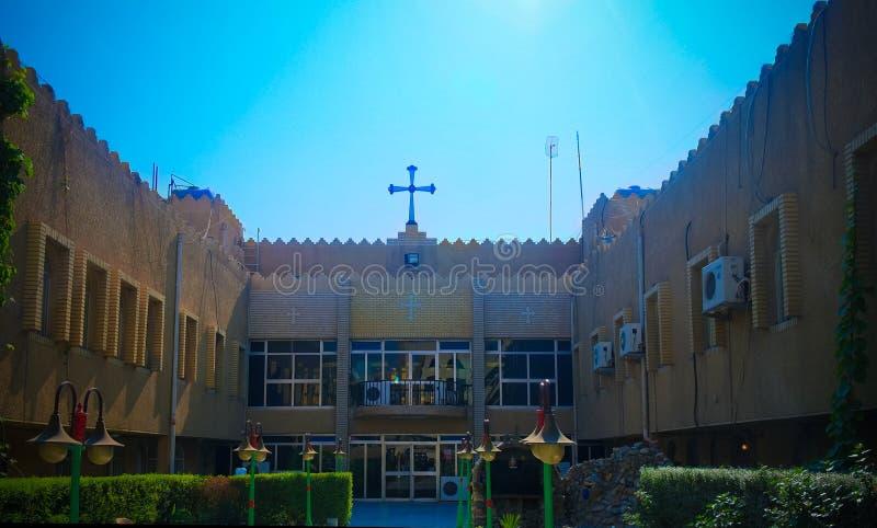 Vista exterior a la iglesia asiria, Bagdad, Iraq fotos de archivo