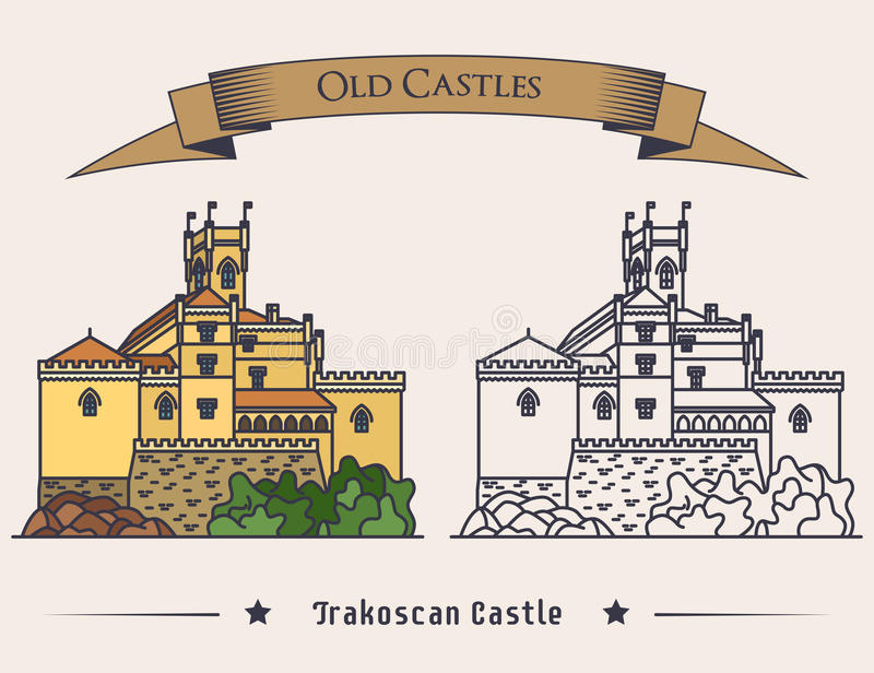 Vista exterior na ilustração velha do castelo de Trakoscan Sinal da arquitetura do vintage ou bandeira medieval do palácio, logot ilustração do vetor