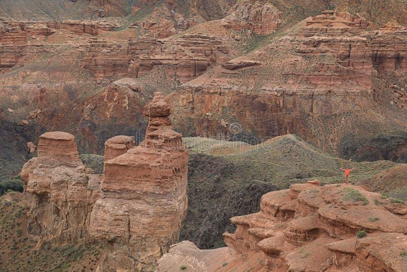 Vista fantástica del barranco de Charyn, Kazajistán imagen de archivo