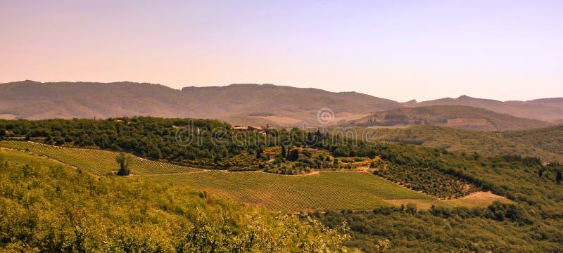 Vista fantastica di una proprietà terriera dell'Italia il giorno soleggiato fotografia stock libera da diritti