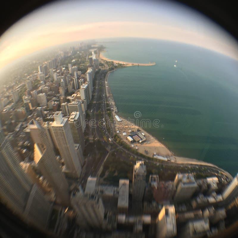Vista Fisheye de Chicago e do lago Michigan imagens de stock royalty free