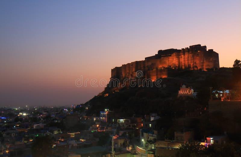 Vista forte Jodhpur India di tramonto di Mehrangarh fotografia stock libera da diritti