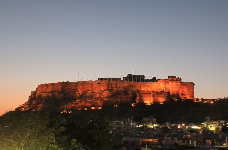 Vista forte Jodhpur India di tramonto di Mehrangarh fotografia stock