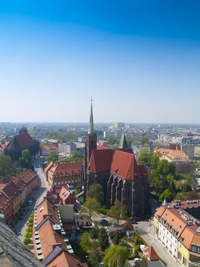 Vista frome del Wroclaw (Breslau), Polonia arriba fotografía de archivo