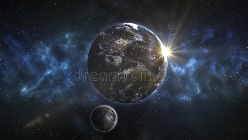 Vista frontal da terra do planeta e da lua de órbita Os elementos ilustração royalty free