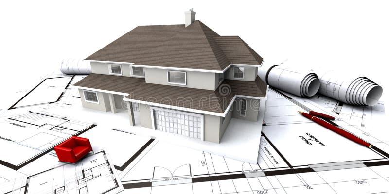 Vista frontal de la casa en bluep stock de ilustración