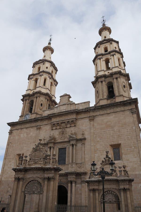 Vista frontal de la catedral, León, Guanajuato foto de archivo