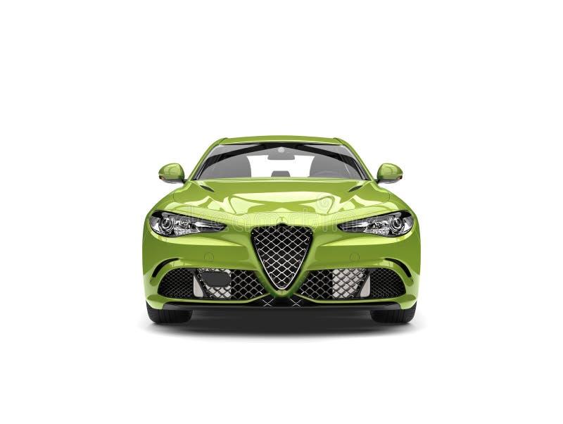Vista frontale automobilistica veloce moderna verde metallica illustrazione di stock