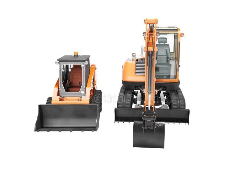 Vista frontale 3d del mini escavatore arancio del cingolo e del mini caricatore non rendere su fondo bianco ombra illustrazione vettoriale
