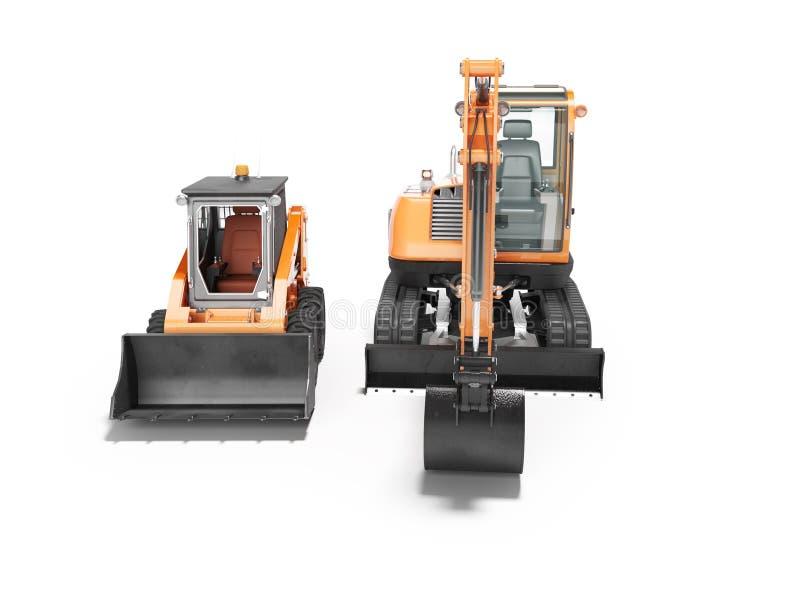 Vista frontale 3d del mini escavatore arancio del cingolo e del mini caricatore rendere su fondo bianco con ombra illustrazione vettoriale