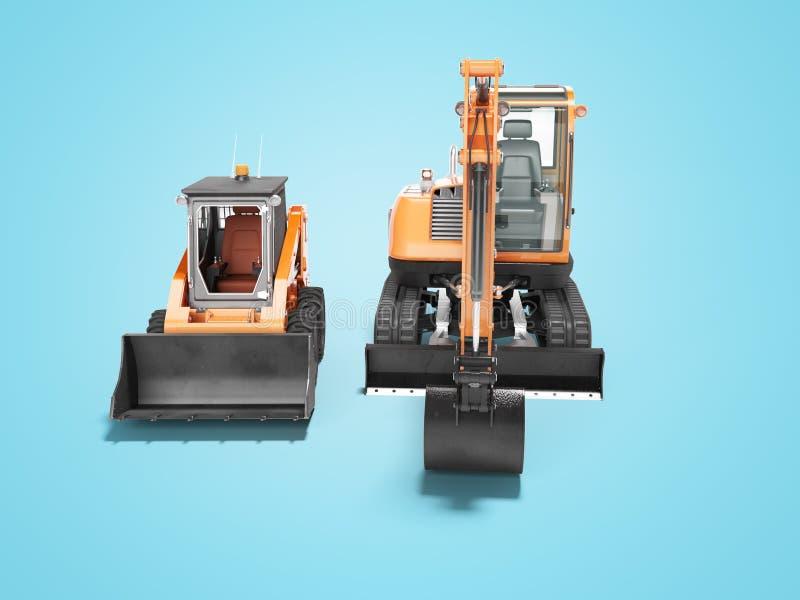 Vista frontale 3d del mini escavatore arancio del cingolo e del mini caricatore rendere su fondo blu con ombra illustrazione di stock