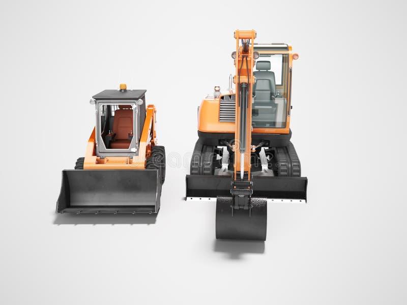Vista frontale 3d del mini escavatore arancio del cingolo e del mini caricatore rendere su fondo grigio con ombra illustrazione di stock