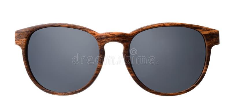 Vista frontale degli occhiali da sole di legno immagini stock