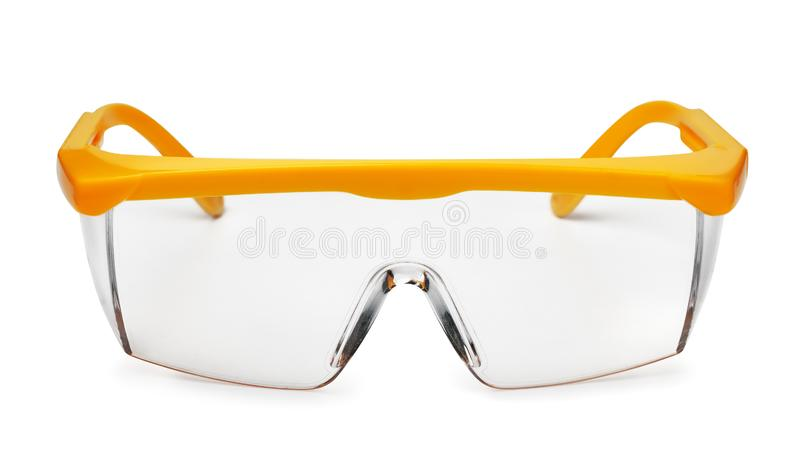 Vista frontale degli occhiali di protezione di plastica gialli fotografie stock