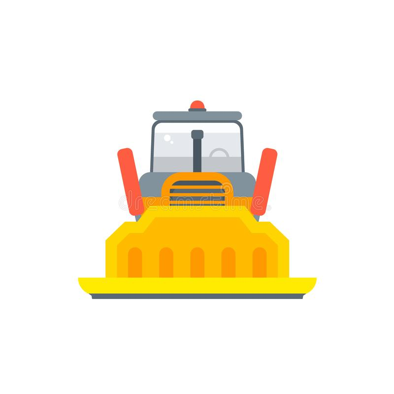 Vista frontale del bulldozer del trattore a cingoli o del cingolo royalty illustrazione gratis