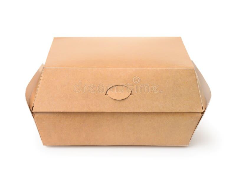 Vista frontale del contenitore marrone chiuso di hamburger fotografie stock