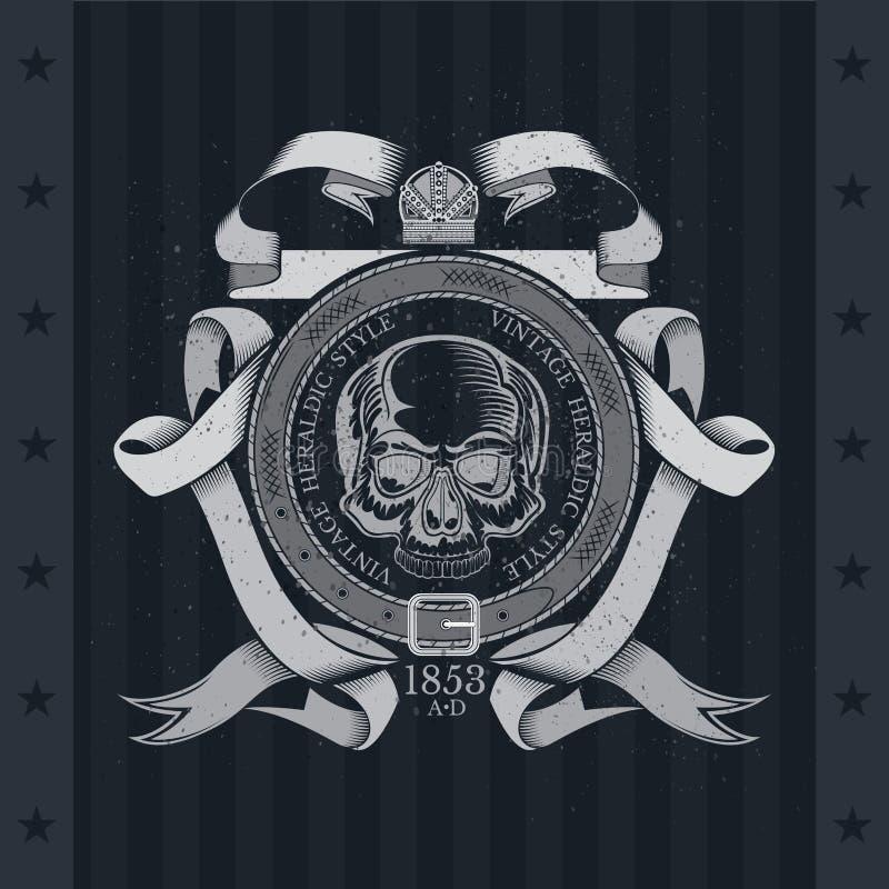 Vista frontale del cranio nel centro della cinghia rotonda e del modello d'avvolgimento del nastro Etichetta d'annata araldica su royalty illustrazione gratis