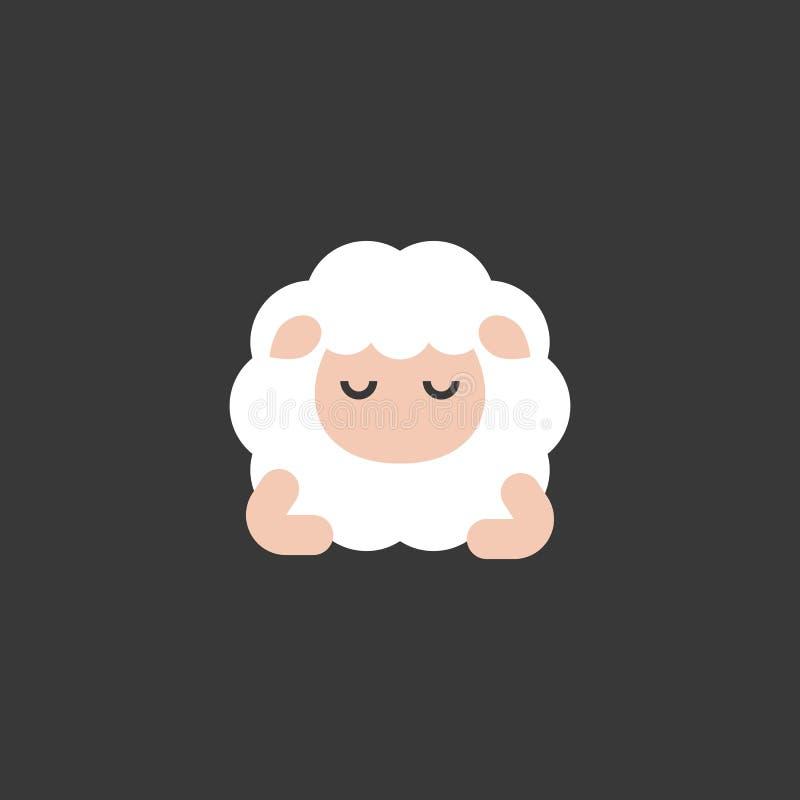 Vista frontale del fumetto delle pecore sveglie di sonno, progettazione piana illustrazione di stock