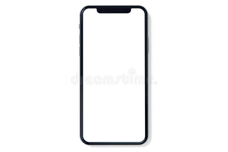 Vista frontale del modello dell'argento di IPhone Xs su bianco fotografia stock libera da diritti