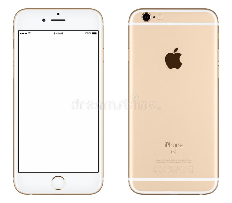 Vista frontale del modello di iPhone 6s di Apple dell'oro e lato posteriore fotografia stock