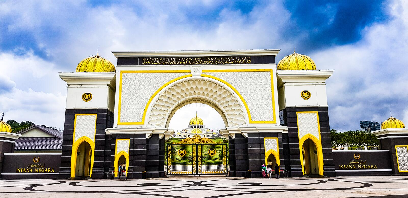 Vista frontale del negara di istana, Malesia, 2017 fotografia stock