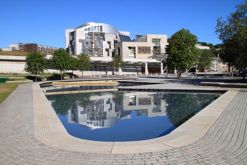 Vista frontale del Parlamento scozzese immagini stock libere da diritti