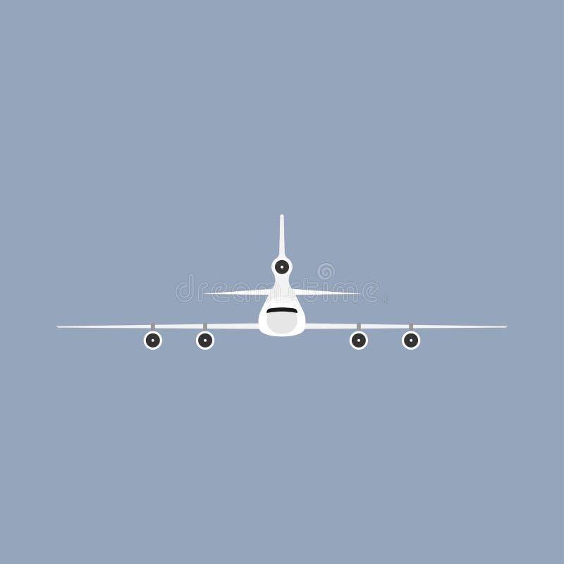 Vista frontale del veicolo di viaggio del trasporto di volo dell'aeroplano Illustrazione commerciale di vettore piano royalty illustrazione gratis