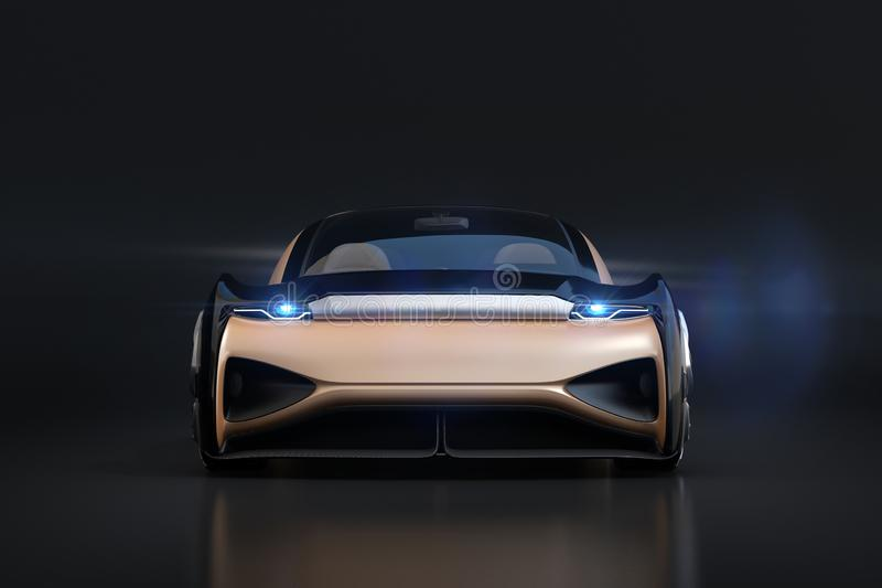 Vista frontale dell'auto che conduce automobile elettrica su fondo nero fotografia stock libera da diritti