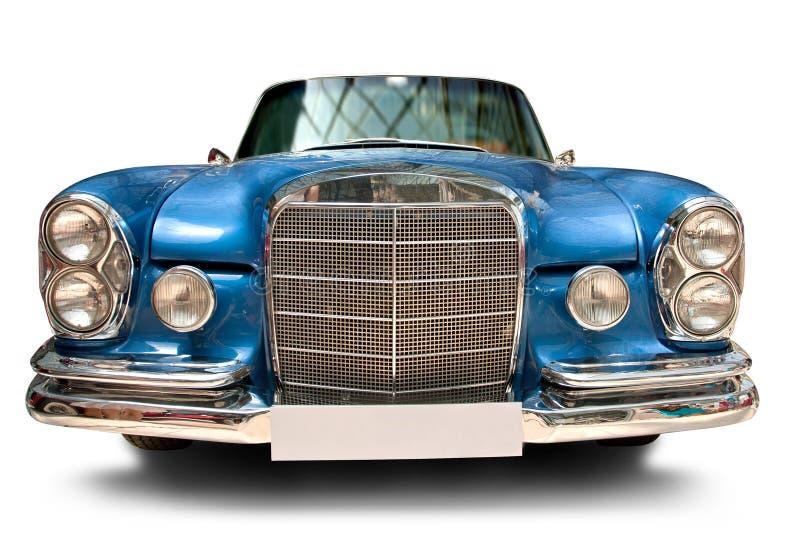 Vista frontale dell'automobile classica con la targa di immatricolazione in bianco fotografia stock