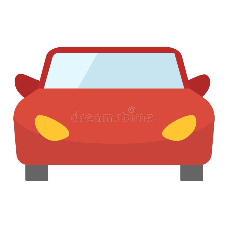 Vista frontale dell'automobile rossa del fumetto illustrazione di stock